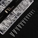 Michelle 500Pcs False Nails Tips Stiletto Medium Short Shape Acrylic Sculpted Sharp Pointed Half Cover 10 Sizes with Case (Clear)