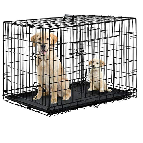 Qinghongkeen Dog Crate for Large Medium Dogs Dog Cage, Black 48 2 Door Pet Cage Folding Dog w/Divider Cat Crate Cage Kennel w/Tray. Pet Playpen Indoor Outdoor Travel Metal Dog Pen