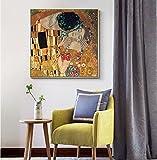 Kiss Reproduction Of Klimt - Famosa Obra De Arte Pintado A Mano Óleo Clubes De Hotel Clubs Centro Comercial Villa Pasillo De Entrada Estudio Casa Decoración Pintura Colgante Gran Marco Sin Marco, C