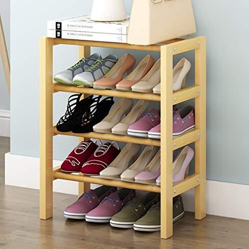 Mlzaq Wooden Shoe Rack de Almacenamiento del Soporte 4 Tier Marco de Hierro Estante del Zapato Estante del sostenedor del Organizador (Color : B, Size : 82cm)
