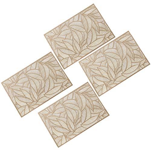 GLOBALDREAM Ausgehöhlte Rechteck Tischsets, 4 Stück Metallische Tischsets Laminierter Vinylblatt-Esstisch Dekorativer Rutschfester Tisch Tischset PVC Kunststoffuntersetzer Isolationspads(Gold)