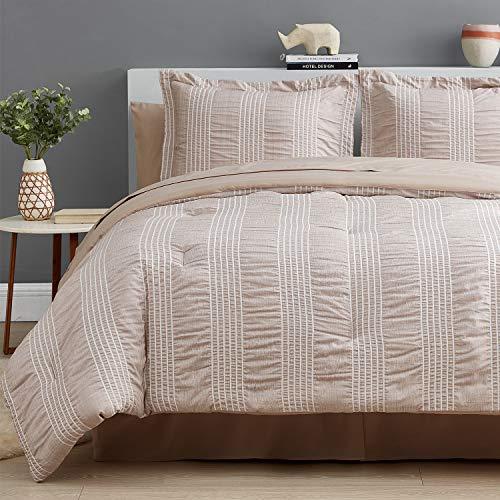 Bedsure Bettwäscheset für Doppelbett, 6-teilig, gestreift, Seersucker, weich, leicht, Daunen, Alternative, Khaki, 172,7 x 223,5 cm