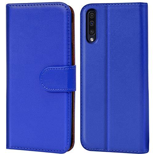 Verco Galaxy A50 Hülle, Samsung A30s Hülle Handyhülle für Samsung Galaxy A50 Tasche PU Leder Flip Hülle Brieftasche - Blau
