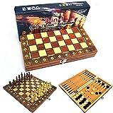 MWKLW Staunton Chess 3 en 1 Juego de Tablero de ajedrez de Madera Plegable Juegos de Viaje Ajedrez Backgammon Damas Juguete Chessmen Entertainment Game Tablero Juguetes Regalo 24X24Cm