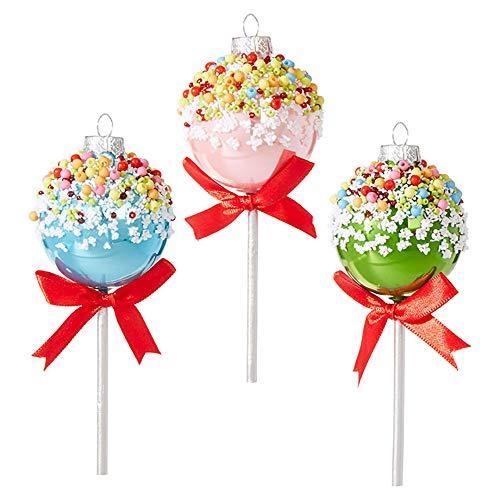 Set of 3 Raz 5' Multi Color Cake Pop Glass Christmas Ornament 3952978