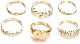 DesirePath Ladies/Teen Girls 6 Pcs Various Types Band Crystal Joint Knuckle Nail Ring Set Finger Rings Punk Ring Gift