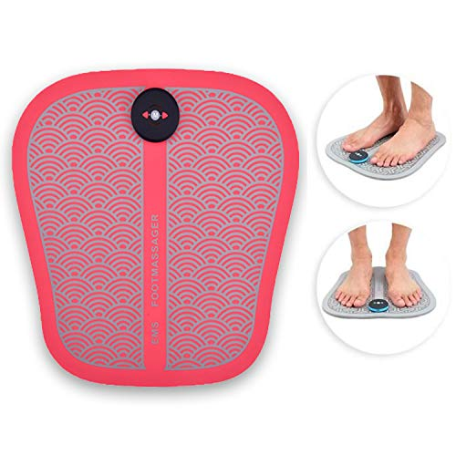 Tapis de massage pieds et jambes lourdes (Rose), appareil stimulateur électrique musculaire pour circulation sanguine, relaxation, massage, antistress, soin de réflexologie plantaire, bien être.