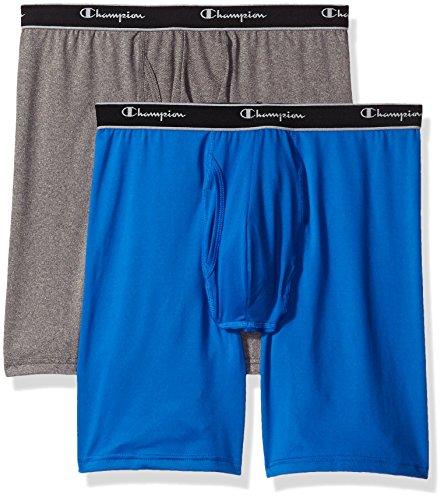 Champion Men's 2-Pack Tech Performance Longer Leg Boxer Brief, Blue/Grey Heather, Medium