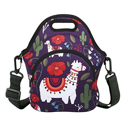 Llama Neoprene Insulated Lunch Bag with Zipper Pocket Reusable Waterproof Tote Foldable Washable Handbag for Women Men Teens Boys Girls Work School Picnic Travel