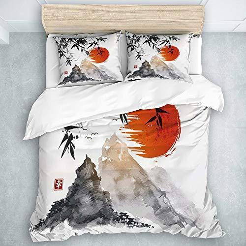 MIGAGA Couette,3 Saisons,Bambou Japonais Soleil et Montagnes Peinture à l'encre Asiatique imperméable,Microfibre Parure de lit,1 Housse De Couette 140x 200cm +2 Taie d'oreiller 50x75cm