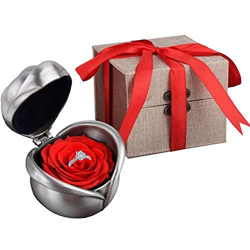Kapmore Rosa Preservada, Flores Preservadas Con Bonita Caja de Regalo Como Vacaciones de Navidad Valentine Aniversario Cumpleaños o Día de la Madre Regalo para Mamá, Niña o Amante