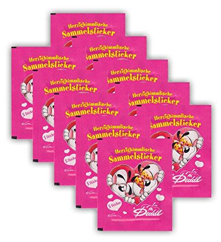 Diddl und Diddlina Herzighimmlische Sammelsticker - Sammel-Sticker - 10 Booster Tüten - 50 Sticker