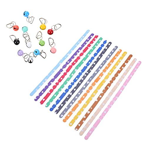 VILLCASE 12 Piezas de Collares para Cachorros Corazón Recién Nacido Pet ID Bandas Adhesivas con Campanas para Perros/Gatos (Colores Mezclados)