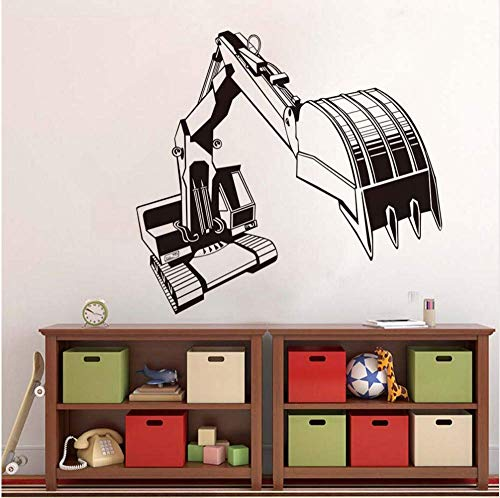Hoogwaardige grote graafmachine slaapkamer wit creatieve muurschildering sticker mechanische overdracht vinyl gesneden sticker sjabloon Home Decor64 * 59 cm