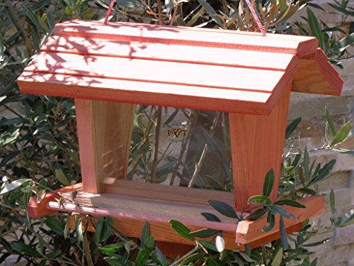 vogelhaus mit ständer BTV-X-VOFU2G-MS-rot001 Schönes PREMIUM Vogelhaus mit ständer, 3D-SILO – VOGELFUTTERHAUS MIT 2 GROSSEN SICHTSCHEIBEN wetterfestes Vogelfutterhaus MIT FUTTERSCHACHT-Futtersilo Futterstation Farbe Rot lachsrot behandelt , weinrot hellrot knallrot, Ausführung Naturholz, mit KLARSICHT-Scheibe zur Füllstandkontrolle, 100% Massivholz, QUALITÄTSPRODUKT vom Schreiner - 3