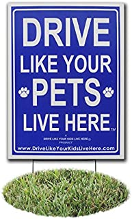 Drive Like Your Pets Live Here Yard Sign, Slow Down Signs/Pets at Play Reminder