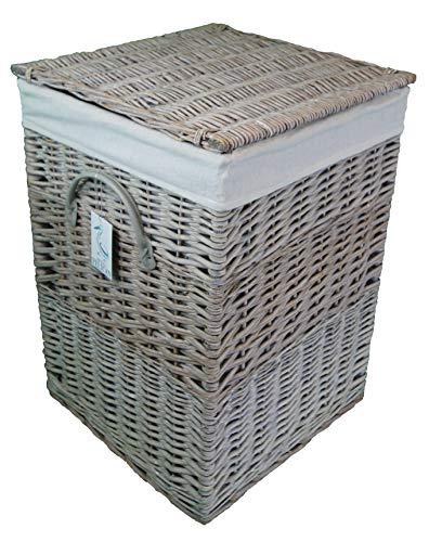 Cesta de mimbre cuadrada Pop-it-in-a-pelican Gris, marrón y blanco. Cesta forrada de algodón. Con tapa de sauce. Lavadero y cesto de ropa., ratán y mimbre, Gris, 110 ltr