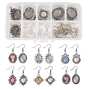 SUNNYCLUE 1 Box DIY 12 Pairs Oval Round Cabochon Earrings Making Starter Kits Dangle Tray Earring Settings 12mm 13x18mm Clear Glass Dome Cabochons Earring Wire Hooks Antique Silver Instruction