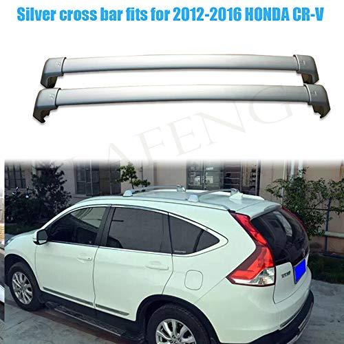 LAFENG Barra transversal plateada para 2012 – 2016 HONDA CR-V 2 piezas de aleación de aluminio portaequipajes portaequipajes rieles de techo