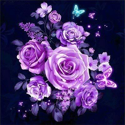Cuadro de diamantes de flores flor de piedra redonda completa bordado de diamantes cuadro de diamantes de imitación de rosas pintura de mosaico A5 60x60cm