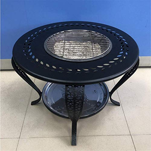 ZXWCYJ Fire Pit Table Outdoor, High-Temperature Heat-Resistant Finish, with Barbecue Grill Shelf, Charcoal Clip and Cover,Black