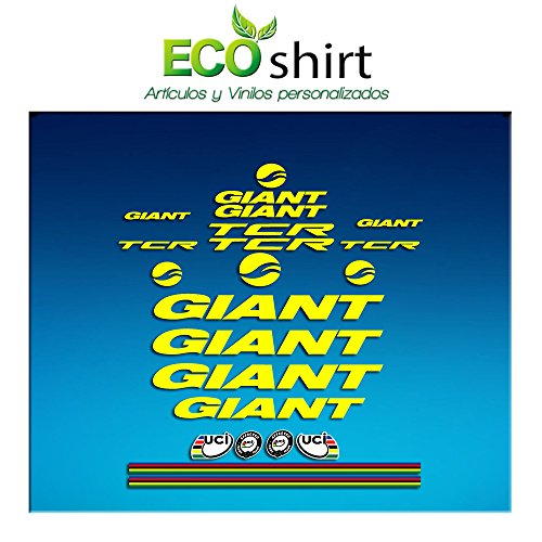 Ecoshirt MR-6LB1-CHND Pegatinas Frame Cuadro Giant TCR Am21 Stickers Aufkleber Decals Adesivi Bike BTT MTB Cycle, Amarillo