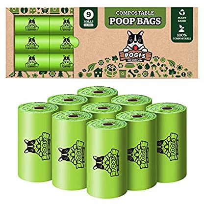 Pogi's Compostable Poop Bags - 9 Rolls (135 Bags) - Leak-Proof, Extra-Large, Plant-based, ASTM D6400 Certified Home Compostable & Biodegradable Waste Bags for Dogs 2
