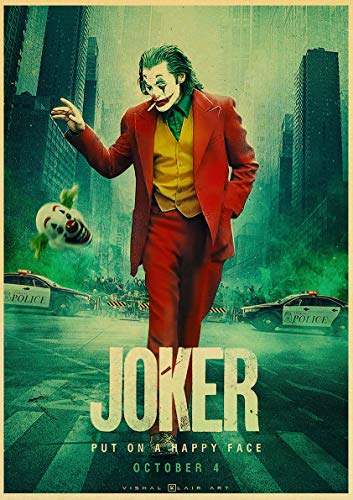 Joaquin Phoenix Joker Film Comics muurkunst schilderij print op koffie retro poster afbeeldingen Halloween Home Decor 50x75cm