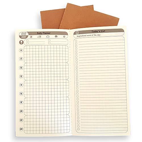 3er Pack Gratis Diary Tagebüchern + Monatsplanern Planer Journal Refill einfügen – To Do List + Tägliche/Jährliche Kalender für Standard Regular Größe Reisende Notebook 21x 11 cm