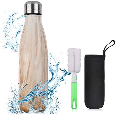 flintronic Bouteille Isotherme, 500 ML Bouteille d'eau en Acier Inoxydable, Isolant sous Vide à Double Paroi, Bouteilles…