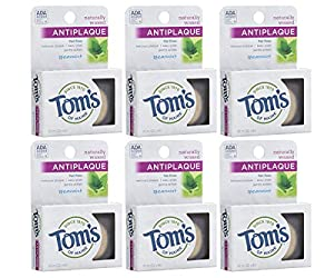 WHAT YOU'LL GET: Six 32-yard packs of Tom's of Maine Naturally Waxed Antiplaque Flat Floss in Spearmint Flavor THICK & DURABLE: The natural floss is strong between teeth, yet gentle on gums NATURALLY WAXED: Easy-glide, naturally waxed nylon floss pre...