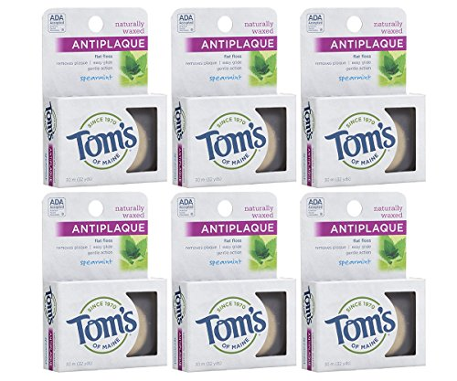 Tom's of Maine Naturally Waxed Antiplaque Flat Dental Floss, Spearmint, 32 Yards 6-Pack