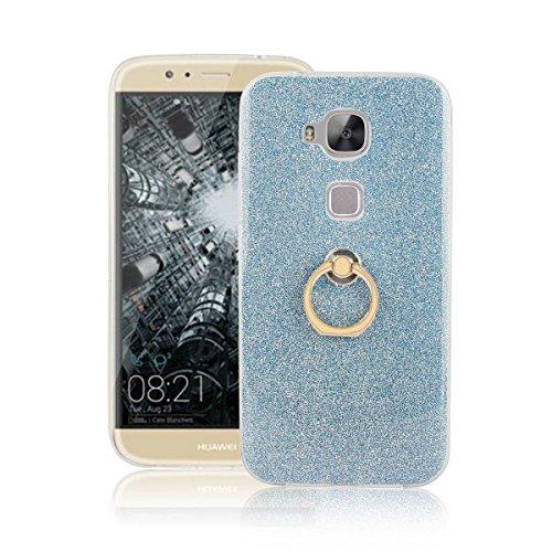 pinlu Funda Para Huawei G8/GX8 Anti-Arañazos Función Flash Brillante Suave TPU Silicona Case Ultra Delgada Hebilla del Anillo Soporte Diseño Azul