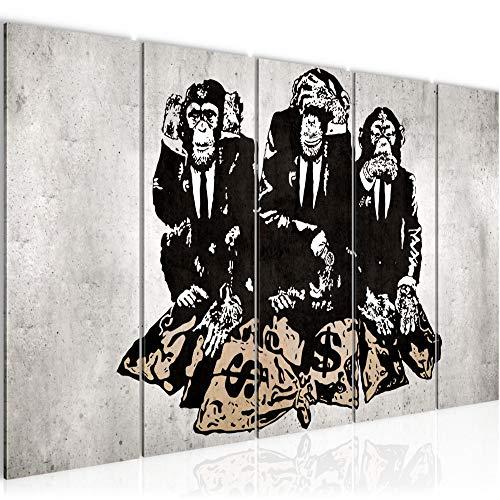 Bilder Street Art Affen Wandbild 200 x 80 cm Vlies Leinwand Bild XXL Format Wandbilder Wohnzimmer Wohnung Deko Duke of Lancaster UK Fertig zum Aufhängen 303455b
