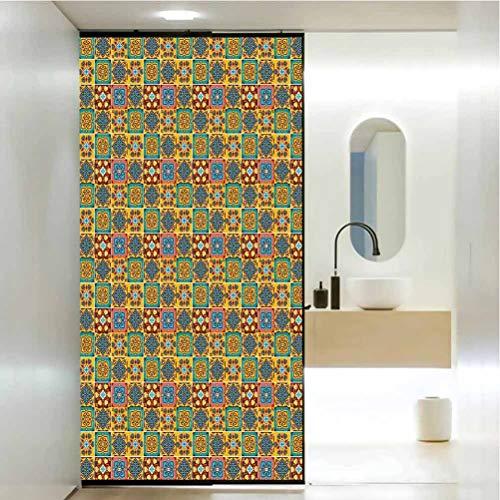 Vinilo decorativo para ventana, diseño de mosaico floral tradicional Azulejo Portugue, adhesivo estático para ventana para hogar y oficina, 17.7 x 35.4 pulgadas