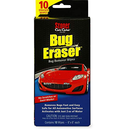 Stoner Car Care 95401 Bug Eraser Car-Cleaning Wipes, Removes Bugs Fast and Easy, Safe for All Automotive Surfaces, 10 Eraser Wipes, Pack of 1