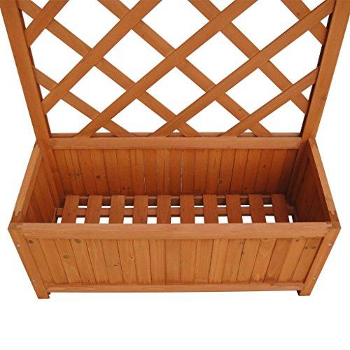 Wooden Planter Box, Garden Planter Box with Trellis, Garden Climbing Flower Plant Pot Box, 70 x 30 x 135 cm