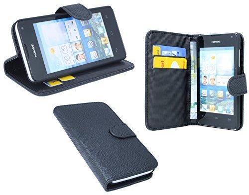 ENERGMiX Praktische Buch-Tasche kompatibel mit Huawei Ascend Y300 in Schwarz Wallet Book-Style
