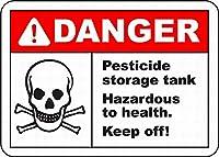 農薬貯蔵タンク メタルポスタレトロなポスタ安全標識壁パネル ティンサイン注意看板壁掛けプレート警告サイン絵図ショップ食料品ショッピングモールパーキングバークラブカフェレストラントイレ公共の場ギフト