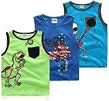 Coralup - Camiseta interior sin mangas para niños y niñas, 100% algodón, diseño de dinosaurio, 3 unidades, cómoda, transpirable, de 12 meses a 13 años Multicolor multicolor 3-4 Años