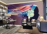 MENGRU Wallpaper Papel Pintado 3D Chica Con Auriculares Escuchando Música Fotomurales 3D Tv Fondo Pared Dormitorio Murales Papel Tapiz Moderno 200cmX140cm