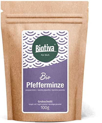 Pfefferminze Bio Grobschnitt 100g - Pfefferminztee - Mentha × piperita - abgefüllt und kontrolliert in Deutschland (DE-ÖKO-005)