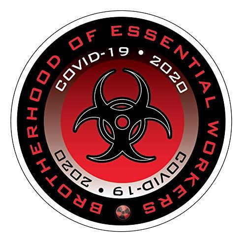 Essential Worker Hardhat Sticker Decal 10 Pack of 2' XL Hazard-RED Quarantine Decals