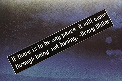 Yilooom verkoop: Henry Miller Vinyl Bumper Sticker als er vrede is. Vinyl Bumper Sticker Autofiets Laptop Gitaar Vinyl Sticker Voor Auto Voor Laptop 4 inch - 2 Packs 8 inches Meerkleurig