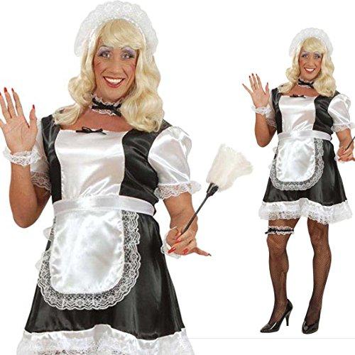 NET TOYS Herren Kostüm Dienstmädchen Junggesellenabschied Männer Kostümset XL 54/56 Maid Männerkostüm Drag Queen Lolita Travestie Hausmädchen Männerballett Faschingskostüm