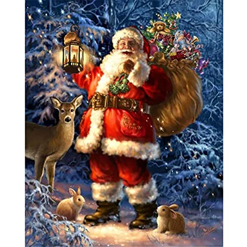 QooDiDo Painting by Numbers for Adults& Kids, DIY Oil Painting Kit on Canvas with Paint Brushes and Arts Craft for Home Wall Decor and for gift,frameless(40cm x 50cm) - Santa Claus