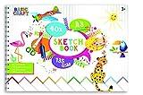 Basic Craft - Blocco da disegno, formato DIN A3, con 40 fogli double-face in formato orizzontale, ideale per dipingere, disegnare, fare schizzi e per album di ritagli, carta ecologica per hobby 145 g