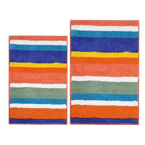 Pauwer Juego de 2 alfombras de baño absorbentes de microfibra, antideslizantes, lavables a máquina, para baño, cocina, dormitorio, 45 x 65 cm+50 x 80 cm, arco iris)