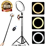 acetek 10' Selfie Ring Light with Tripod Stand & Cellphone Holder, LED Camera Selfie Ring Light for Live Stream/Makeup/YouTube Video/Photography Compatible with iPhone and Android, Wireless Remote