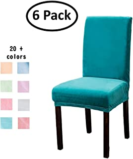 Argstar 6 Pack Premium Velvet Parsons Chair Cover for Dining Room, Stretch Fitted Removable Dining Chair Slipcover Set of 6, Teal